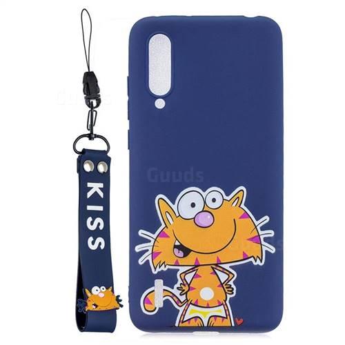 Blue Cute Cat Soft Kiss Candy Hand Strap Silicone Case for Xiaomi Mi CC9 (Mi CC9mt Meitu Edition)