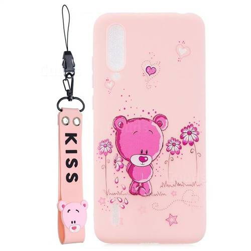 Pink Flower Bear Soft Kiss Candy Hand Strap Silicone Case for Xiaomi Mi CC9 (Mi CC9mt Meitu Edition)