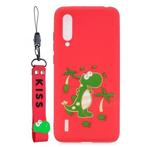 Red Dinosaur Soft Kiss Candy Hand Strap Silicone Case for Xiaomi Mi CC9 (Mi CC9mt Meitu Edition)