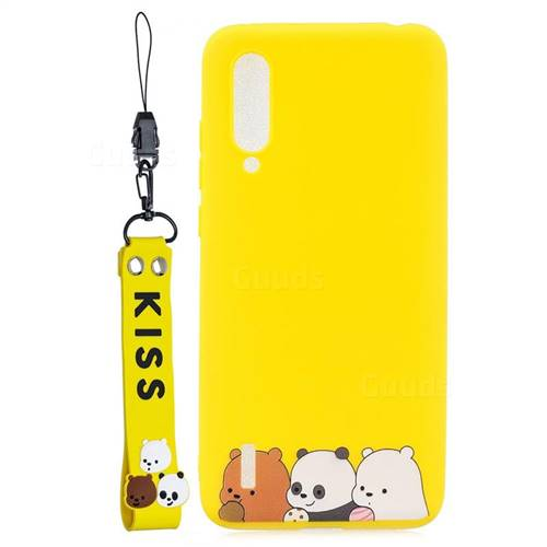 Yellow Bear Family Soft Kiss Candy Hand Strap Silicone Case for Xiaomi Mi CC9 (Mi CC9mt Meitu Edition)