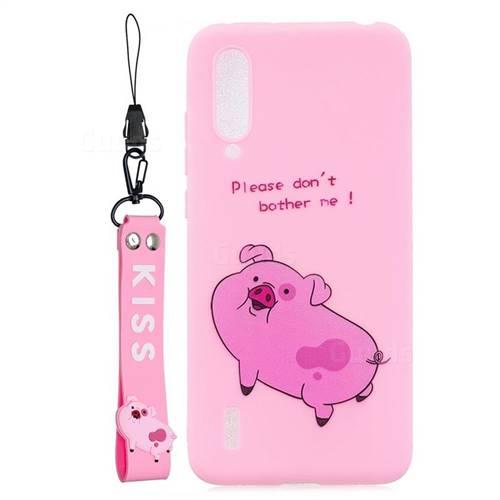 Pink Cute Pig Soft Kiss Candy Hand Strap Silicone Case for Xiaomi Mi CC9 (Mi CC9mt Meitu Edition)