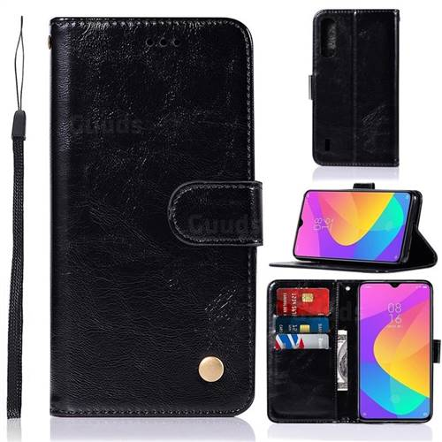 Luxury Retro Leather Wallet Case for Xiaomi Mi CC9 (Mi CC9mt Meitu Edition) - Black