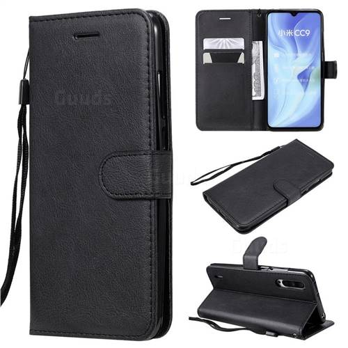 Retro Greek Classic Smooth PU Leather Wallet Phone Case for Xiaomi Mi CC9 (Mi CC9mt Meitu Edition) - Black