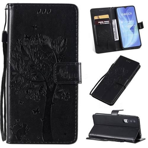Embossing Butterfly Tree Leather Wallet Case for Xiaomi Mi CC9 (Mi CC9mt Meitu Edition) - Black