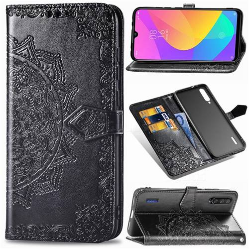 Embossing Imprint Mandala Flower Leather Wallet Case for Xiaomi Mi CC9 (Mi CC9mt Meitu Edition) - Black