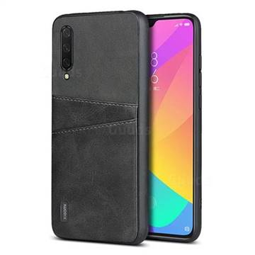 Simple Calf Card Slots Mobile Phone Back Cover for Xiaomi Mi CC9 (Mi CC9mt Meitu Edition) - Black
