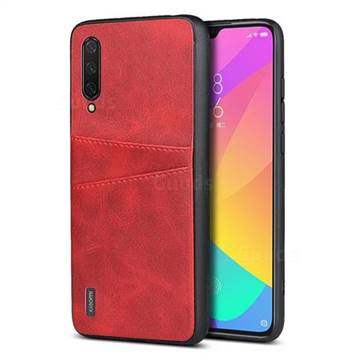 Simple Calf Card Slots Mobile Phone Back Cover for Xiaomi Mi CC9 (Mi CC9mt Meitu Edition) - Red