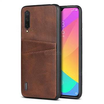 Simple Calf Card Slots Mobile Phone Back Cover for Xiaomi Mi CC9 (Mi CC9mt Meitu Edition) - Coffee