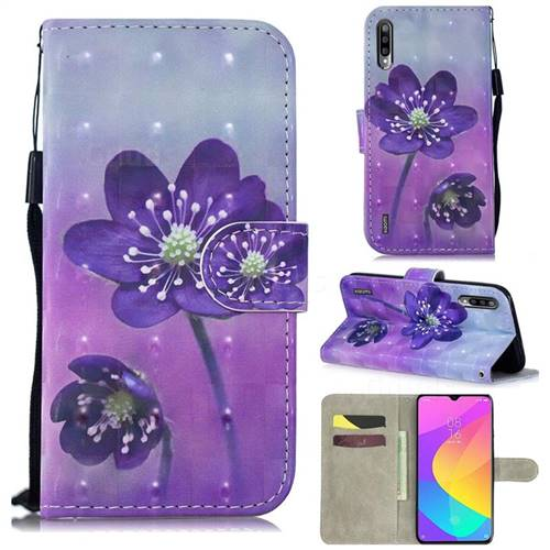 Purple Flower 3D Painted Leather Wallet Phone Case for Xiaomi Mi CC9 (Mi CC9mt Meitu Edition)