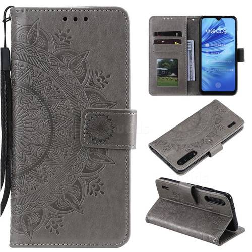 Intricate Embossing Datura Leather Wallet Case for Xiaomi Mi CC9 (Mi CC9mt Meitu Edition) - Gray