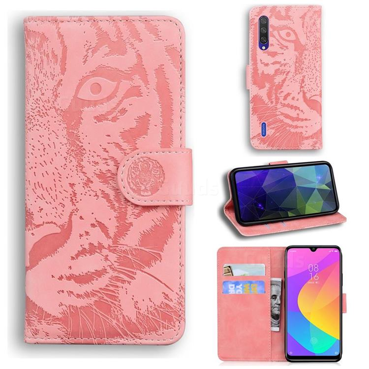 Intricate Embossing Tiger Face Leather Wallet Case for Xiaomi Mi CC9 (Mi CC9mt Meitu Edition) - Pink