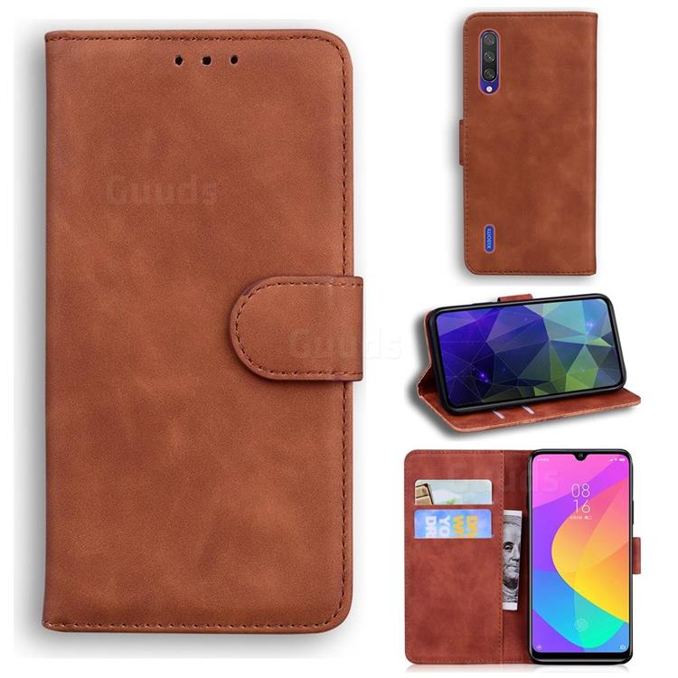 Retro Classic Skin Feel Leather Wallet Phone Case for Xiaomi Mi CC9 (Mi CC9mt Meitu Edition) - Brown