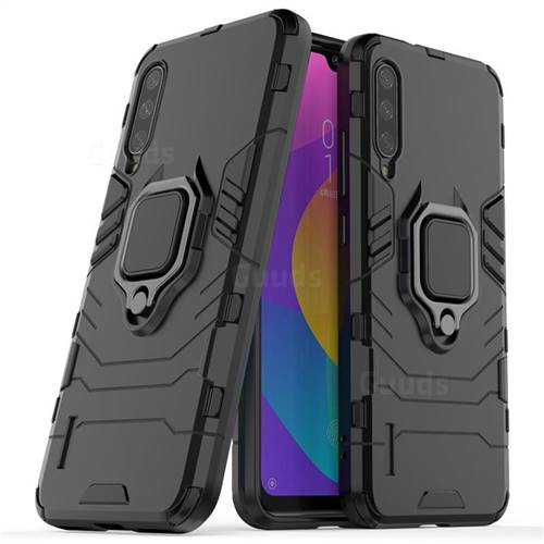 Black Panther Armor Metal Ring Grip Shockproof Dual Layer Rugged Hard Cover for Xiaomi Mi CC9e - Black