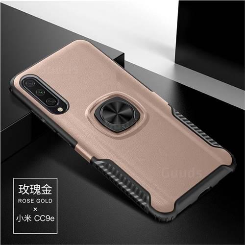 Knight Armor Anti Drop PC + Silicone Invisible Ring Holder Phone Cover for Xiaomi Mi CC9e - Rose Gold