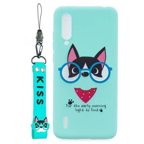 Green Glasses Dog Soft Kiss Candy Hand Strap Silicone Case for Xiaomi Mi CC9e