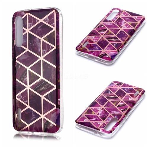 Purple Rhombus Galvanized Rose Gold Marble Phone Back Cover for Xiaomi Mi CC9e