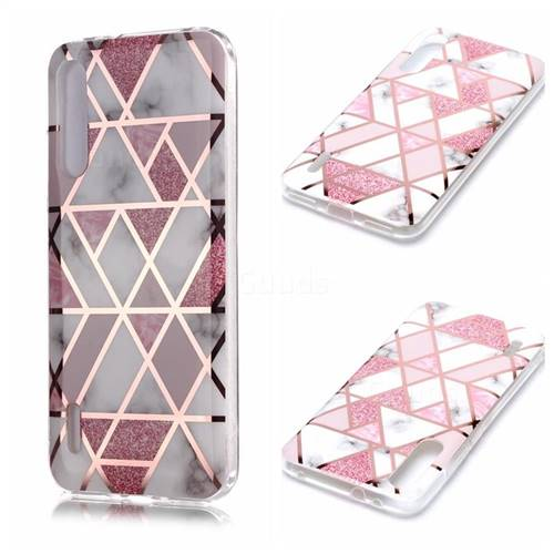 Pink Rhombus Galvanized Rose Gold Marble Phone Back Cover for Xiaomi Mi CC9e