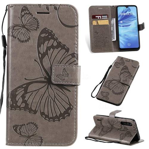 Embossing 3D Butterfly Leather Wallet Case for Xiaomi Mi CC9e - Gray