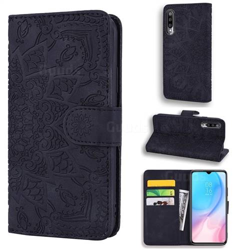 Retro Embossing Mandala Flower Leather Wallet Case for Xiaomi Mi CC9e - Black
