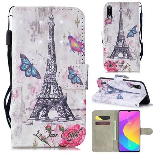Paris Tower 3D Painted Leather Wallet Phone Case for Xiaomi Mi CC9e