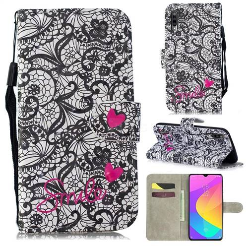 Lace Flower 3D Painted Leather Wallet Phone Case for Xiaomi Mi CC9e