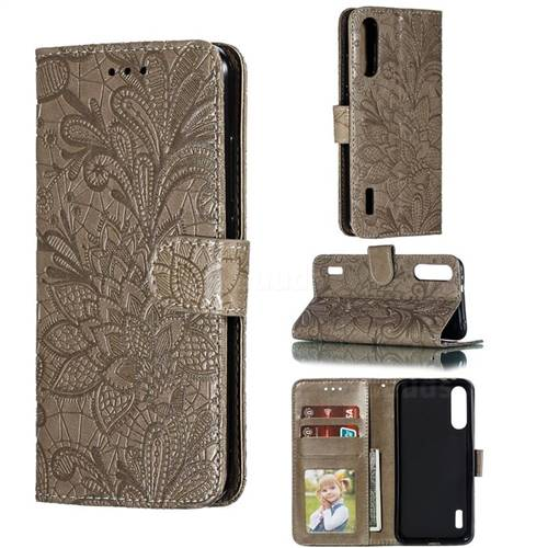 Intricate Embossing Lace Jasmine Flower Leather Wallet Case for Xiaomi Mi CC9e - Gray