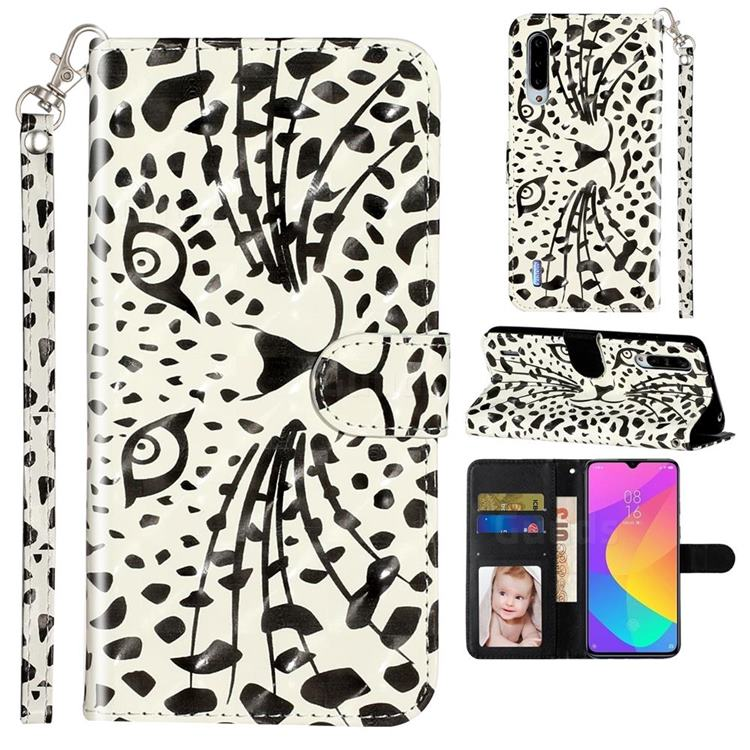 Leopard Panther 3D Leather Phone Holster Wallet Case for Xiaomi Mi CC9e