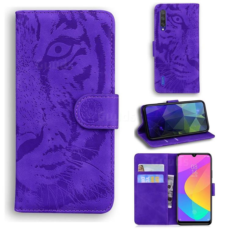 Intricate Embossing Tiger Face Leather Wallet Case for Xiaomi Mi CC9e - Purple