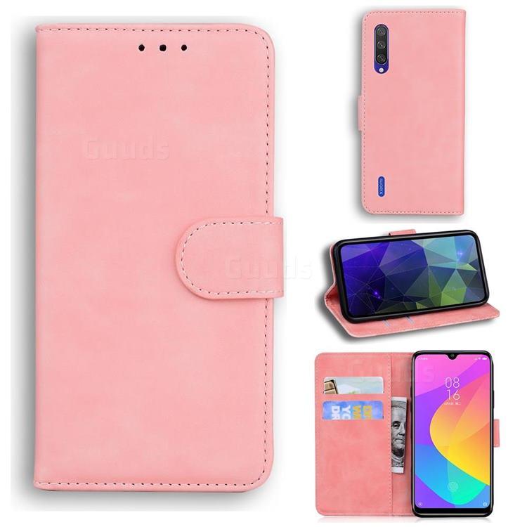 Retro Classic Skin Feel Leather Wallet Phone Case for Xiaomi Mi CC9e - Pink