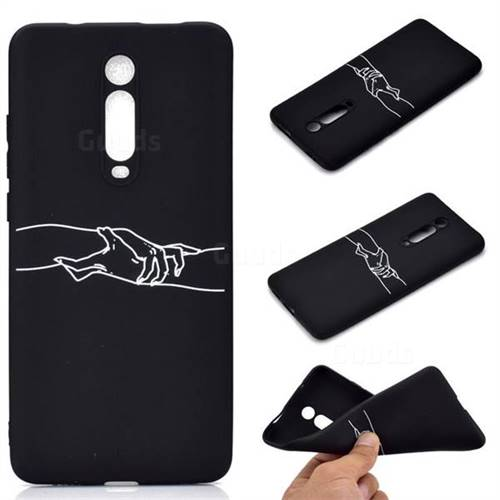 Handshake Chalk Drawing Matte Black TPU Phone Cover for Xiaomi Redmi K20 / K20 Pro