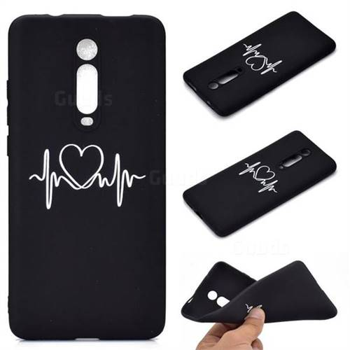 Heart Radio Wave Chalk Drawing Matte Black TPU Phone Cover for Xiaomi Redmi K20 / K20 Pro