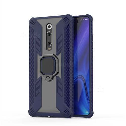 Predator Armor Metal Ring Grip Shockproof Dual Layer Rugged Hard Cover for Xiaomi Redmi K20 / K20 Pro - Blue