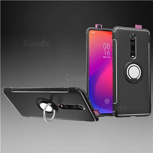 Armor Anti Drop Carbon PC + Silicon Invisible Ring Holder Phone Case for Xiaomi Redmi K20 / K20 Pro - Black