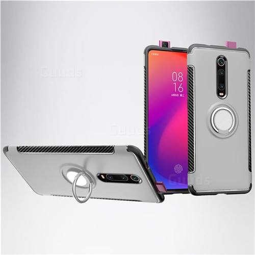 Armor Anti Drop Carbon PC + Silicon Invisible Ring Holder Phone Case for Xiaomi Redmi K20 / K20 Pro - Silver