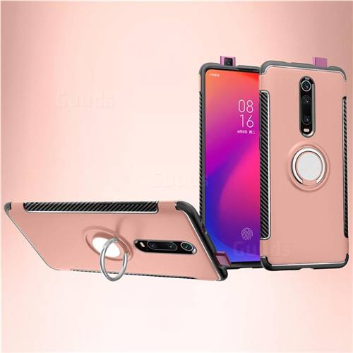 Armor Anti Drop Carbon PC + Silicon Invisible Ring Holder Phone Case for Xiaomi Redmi K20 / K20 Pro - Rose Gold