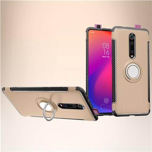 Armor Anti Drop Carbon PC + Silicon Invisible Ring Holder Phone Case for Xiaomi Redmi K20 / K20 Pro - Champagne