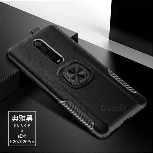 Knight Armor Anti Drop PC + Silicone Invisible Ring Holder Phone Cover for Xiaomi Redmi K20 / K20 Pro - Black