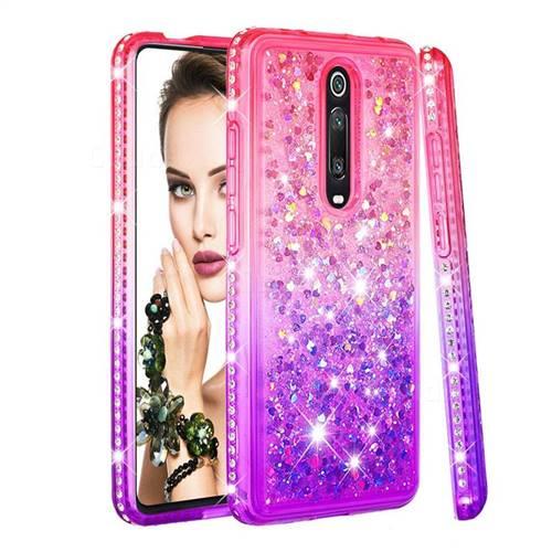 Diamond Frame Liquid Glitter Quicksand Sequins Phone Case for Xiaomi Redmi K20 / K20 Pro - Pink Purple