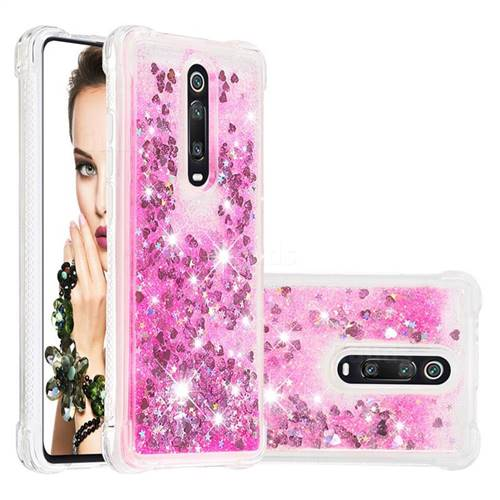 Dynamic Liquid Glitter Sand Quicksand TPU Case for Xiaomi Redmi K20 / K20 Pro - Pink Love Heart