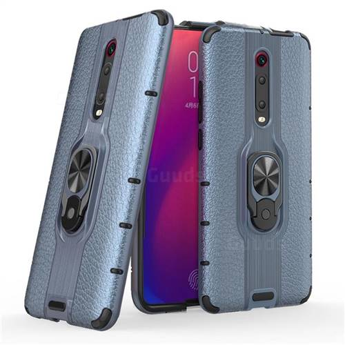 Alita Battle Angel Armor Metal Ring Grip Shockproof Dual Layer Rugged Hard Cover for Xiaomi Redmi K20 / K20 Pro - Blue