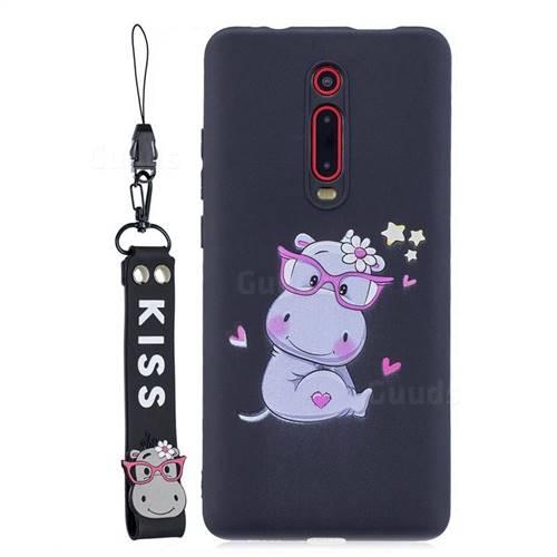 Black Flower Hippo Soft Kiss Candy Hand Strap Silicone Case for Xiaomi Redmi K20 / K20 Pro