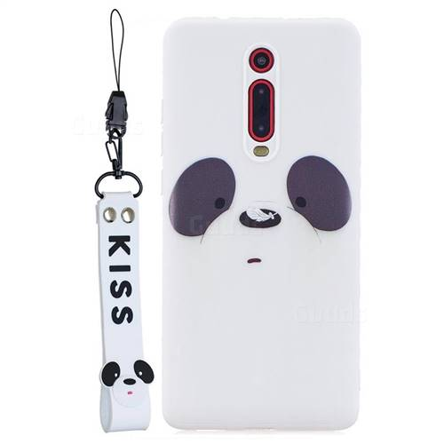 White Feather Panda Soft Kiss Candy Hand Strap Silicone Case for Xiaomi Redmi K20 / K20 Pro