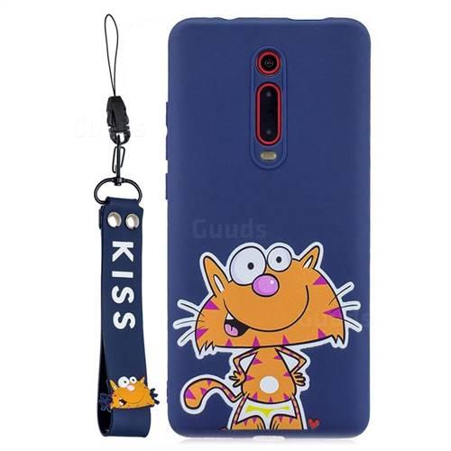 Blue Cute Cat Soft Kiss Candy Hand Strap Silicone Case for Xiaomi Redmi K20 / K20 Pro