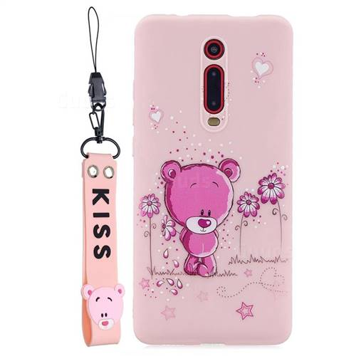 Pink Flower Bear Soft Kiss Candy Hand Strap Silicone Case for Xiaomi Redmi K20 / K20 Pro