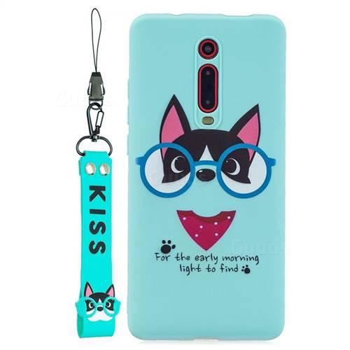 Green Glasses Dog Soft Kiss Candy Hand Strap Silicone Case for Xiaomi Redmi K20 / K20 Pro