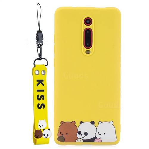 Yellow Bear Family Soft Kiss Candy Hand Strap Silicone Case for Xiaomi Redmi K20 / K20 Pro