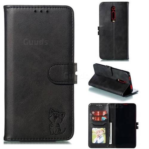 Embossing Happy Cat Leather Wallet Case for Xiaomi Redmi K20 / K20 Pro - Black