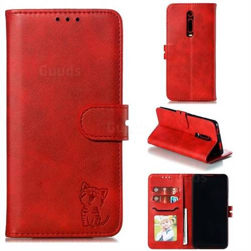 Embossing Happy Cat Leather Wallet Case for Xiaomi Redmi K20 / K20 Pro - Red