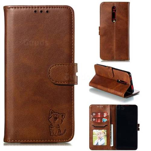 Embossing Happy Cat Leather Wallet Case for Xiaomi Redmi K20 / K20 Pro - Brown