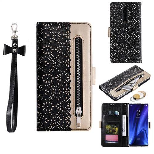 Luxury Lace Zipper Stitching Leather Phone Wallet Case for Xiaomi Redmi K20 / K20 Pro - Black
